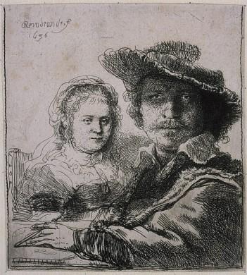 Zelfportret van Rembrandt van Rijn en zijn vrouw Saskia