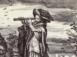 Man kijkt door een telescoop op een emblamata uit 1624